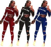 leggings new jersey al por mayor-Nueva llegada Mujeres marca conjunto de dos piezas estilo de moda de lujo jersey Crew Neck manga larga camiseta bodycon leggings pantalones de impresión más el tamaño 52
