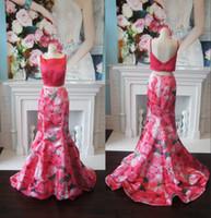 elegantes rotes teppichkleid plus größe großhandel-Print Floral Prom Dress 2k19 Elegante Wassermelone Meerjungfrau Formal Event Wear Kleider Riemen Backless Bateau Neck Order-to-Made Roter Teppich Kleid