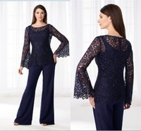Wholesale mother groom dresses beach wedding for sale - Group buy Cheap Navy Blue Mother Of The Bride Pant Suits Chiffon Lace Beach Wedding Guest Mothers Groom Dress Formal Outfit Garment Wear