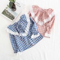 bebek kızları uzun kollu bluz toptan satış-Bebek Kız Çocuk Giyim gömlek uzun Kollu ekose baskı bluz gömlek 2 renkler 100% pamuk Rahat Yumuşak Prenses gömlek çocuk kız bluz