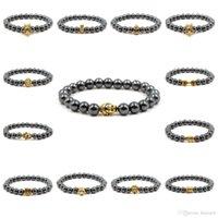 pulseiras de ouro buda venda por atacado-Beads Pulseira Homens Banhado A Ouro Contas Buddha Charm Pulseiras Bangle Mulheres Homens Jóias