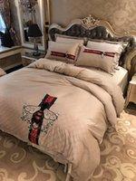 top luxusgüter großhandel-Italien Sticken Rand Silberfaden Bettwäsche Anzug Bestnote 60 S Satin Bohrer Bettlaken Anzug 4 STÜCKE Luxusgüter Bettbezug