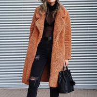 ingrosso seni naturali pieni-Litthing 2019 Autunno Inverno Moda Donna Pelliccia sintetica Capispalla lunghe Giacche in peluche caldo Cappotto da donna casual Streetwear