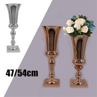 ingrosso fiori per vasi grandi-Grande Stunning Silver Iron Vaso di fiori di lusso Pot Urn Natale Wedding Table Event Centrotavola Home Decor Regali