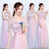Wholesale ladies cute lace dresses resale online - Pink lace summer cute lace summer lady girl women princess bridesmaid banquet party dress