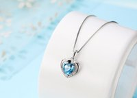 Wholesale New listing sterling silver my heart eternal necklace Korean jewelry beautiful crystal pendant for women wedding