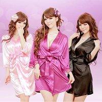 lingerie preta do robe cor-de-rosa venda por atacado-Mulheres ocasional das senhoras Camisa de noite de seda Robe Nightgown Lingerie Sling Lingerie Sleepwear Preto Azul Rosa