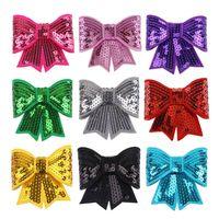 gestickte paillettenhaarzusätze großhandel-DIY Sequin Bows Embroideried Sequins Bow Applique Hair Bows Mädchen Kleidung Haarschmuck 10 Farben Wholesale Freies Verschiffen YW3023