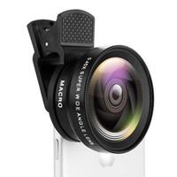 универсальный объектив камеры для iphone оптовых-2 Функции Объектива Мобильного Телефона 0.45X Широкоугольный Лен 12.5X Макро HD Объектив Камеры Универсальный для iPhone Android Phone