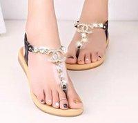 frauenböhmische sandalen großhandel-Mode frauen sandalen Sexy Sandalen Böhmischen Diamant Hausschuhe Frau Wohnungen Flip Flops Schuhe Sommer Strand Sandalen Slipper Flip Flop