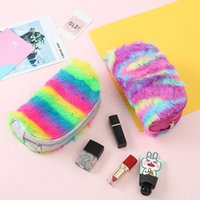 Wholesale evening bag for sale - Rainbow cosmetic bag coin purse women children Girls cartoon Zipper Evening Clutch bag Kids Girls Plush wallet Make up bag AAA1489
