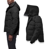 kapüşonlu siyah toptan satış-2020 Kanada Erkek Kış Aşağı Parkas Sıcak Ceket Hoodie Siyah Aşağı Tasarımcı ceketler Palto Kürk Langfordo lüks Sıcak Coat Giyim Doudoune