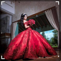 Wholesale applique ball gowns resale online - Cheap Ball Gown Red Quinceanera Dresses Evening Wear Satin Off Shoulder Appliques Long Sweet Prom Dresses Formal Pageant Gowns