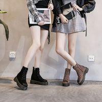 Wholesale leather short boots for women resale online - botte hiver femme platform high heel winter ankle boots for women genuine leather booties woman short plush sewing sapatos TSDFC