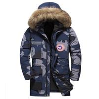 kürk yakalı uzun ceket erkek toptan satış-Ceket Erkek Kapşonlu Coat Erkek Kürk Yaka Kış Ceket Kadınlar Erkekler Askeri Aşağı Palto Uzun Parkas Kanada Coats Boyut S-3XL Aşağı kamuflaj