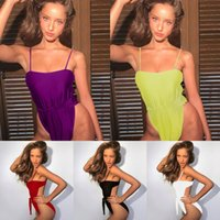envolva uma peça venda por atacado-Envolto Biquíni Atado One-piece Swimsuit Sexy Cor Sólida Biquíni Mulheres Moda Estilo Um Pedaço Dot Swimwear Com Tiras Tamanho S ~ XL