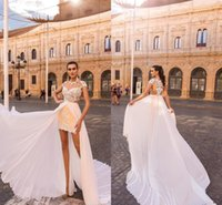Wholesale white fitted short wedding dresses resale online - 2019 Short Vintage Beach Wedding Dresses with Overskirt Chiffon Sheer Lace Champagne Fitted High Low Bridal Gowns
