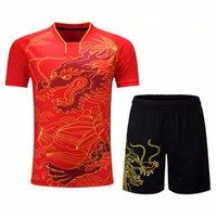 masa tenisi mayo gömlekleri toptan satış-Eşofman Jersey Nefes Badminton Gömlek Üniformalar Kadınlar / Erkekler Masa Tenisi Giyim Takım Oyunu Kısa Kollu T Shirt Şort