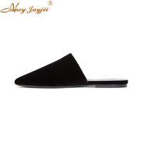 ingrosso vestito di mandorla-Nancyjayjii New Fashion Velvet Fashion Bliss Slippers Almond Toe Lady tacco piatto donna estate vestito casual scarpe donna taglia 4-16