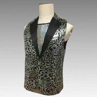 trajes de estados unidos al por mayor-Europa y los Estados Unidos club nocturno bar cantante masculino disfraces personalidad del invitado delgado leopardo lentejuelas chaleco masculino