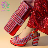 Wholesale ladies italian matching shoe bag for sale - Group buy Ladies Italian PU Leather Shoes and Bag Set Red Italian Shoes with Matching Bag Set Nigerian and for Party