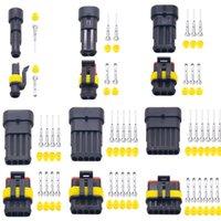 pines conectores automotrices al por mayor-Kit de 2 pines 1/2/3/4/5/6 pines Way AMP conector automático a prueba de agua automotriz conector de cable enchufe para automóvil a prueba de agua