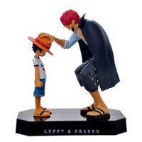 brinquedos quentes luffy venda por atacado-Venda quente 1 pcs Figuras de Ação Anime Chapéu De Palha Luffy Shanks Enfeites de Cabelo Vermelho Brinquedos de Presente 17.5 cm Criança Luffy Modelos Coleção Pvc