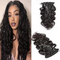 perulu dalga saç uzantıları toptan satış-Vücut Dalga 100% İnsan Saç Klip uzantıları # 1B Doğal renk Perulu Cilt Atkı Uzantıları Klip 7 adet / 120g