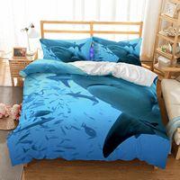 ingrosso set biancheria da letto di progettazione 3d-2019 nuovi letti semplice progettista imposta 3D Sharks Bedding Supplies Lusso tre pezzi Bed Set Home Textiles Environmentally Friendly