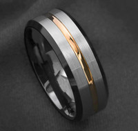 Wholesale tungsten ring brushed resale online - Men s wedding band Silver brushed Black edge Tungsten ring Gold inlay V191220