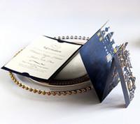 ingrosso biglietto da visita oro-Biglietti d'invito poco costosi di nozze della marina di Stereoscopic dell'oro che timbra la carta personale dell'invito di affari di bianco rosso Trasporto libero