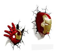 ingrosso l'uomo di ferro 3d ha portato le luci-[TOP] Creativo The Avengers Capitan Iron man Helmet modello Glove Lampada da parete 3D Lampada a LED unica Lampada da casco Decorazioni per la casa
