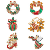 Wholesale santa claus brooch jewelry for sale - Group buy Tocona New Year Christmas Moose Brooch for Women Gift Boots Brooch Santa Claus Shoes Wreath Beautiful Jewelry