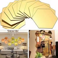 декор для стен гостиной оптовых-12шт шестиугольник Honeycomb Декоративные 3D Зеркало стены наклейки Гостиная Спальня Poster Home Decor Room Decoration
