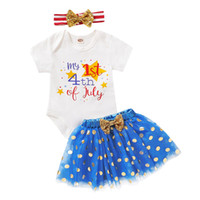 Wholesale 4th of july romper resale online - Newborn Baby Romper Suits My st th of July Printed Rompers Kids Casual Clothes Girls Baby Clothes Sequin Gold Dot Mesh Skirts