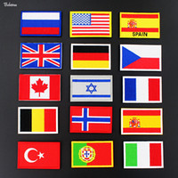 Wholesale spain clothing for sale - Group buy USA Spain Italy Germany France Russia Flag Badges Stick on Outdoor D Stickers for Military Clothes Hat Backpack Patches