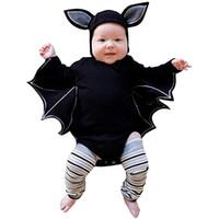 черные костюмы летучих мышей оптовых-Новорожденные Детская одежда Black Bat костюм плащ Romper хлопка Эпикировка с длинным рукавом Romper штаны Hat Одежда Set
