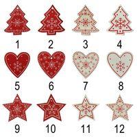 ingrosso stelle bianche decorazioni di natale-Ciondolo in legno di Natale 10 pezzi / lotto Albero di Natale in legno rosso bianco Ornamento Angelo Neve Campana Stella di alce Decorazioni natalizie per la casa