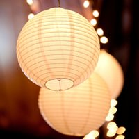 Wholesale 14 lanterns resale online - 10pcs inch Warm White LED Lantern Lights Chinese Paper Ball Lampions For Wedding Party Decoration SH190923