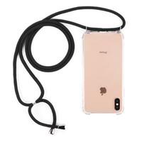 telefon kordonları boyunluklar toptan satış-Kolye Tutucu Cep Telefonu Kapak Kordon Askısı ile Şeffaf Silikon Kapak Şık Çapraz Vücut Kordon Kordon Durumda Iphone Samsung Huawei için