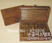 Wholesale wooden numbers letter stamp resale online - DHL set set Number and Letter Wood stamp Set Wooden Box Multi purpose stamp DIY funny work