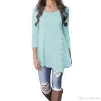 bluz uzun kollu kore toptan satış-Kore Yaz kadın O-Boyun Gömlek Casual Uzun Kollu Düğme bayanlar Tops katı Tunik Şifon Bluz Kadın Blusas Tops Artı Boyutu