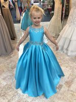 2cdee5cef Cheap A Line Flower Girls Dreses With Jewel Crystal Beaded Simple Satin  Floor Length Girls Pageant Dresses