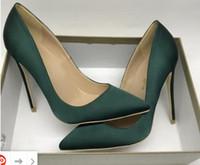 yeşil pompalar ayakkabı kadınlar toptan satış-2019 yeni stil Tasarımcı Koyu yeşil Kırmızı Taban Kadın Kırmızı Dipleri Pompaları Yüksek Topuklu Sivri Burun Kırmızı Alt Elbise artı boyutu Düğün Ayakkabı 34-45