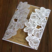 kits casamento convites laser cut venda por atacado-10 pcs Oco Laser Cartões de Corte Ferramenta de Festa de Casamento Convites Kits Elegante Festa de Aniversário de Casamento Suprimentos Parabéns