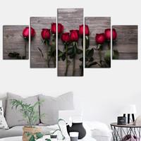 blumenbilder rosen rot großhandel-HD Druck Gemälde Wandkunst Rahmen 5 Stücke Schöne Rote Rosen Blumen Leinwand Bilder Modular Poster Wohnzimmer Wohnkultur