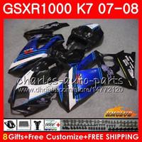 verkleidungssatz gsxr schwarz großhandel-Karosserie für SUZUKI GSXR-1000 GSXR1000 2007 2008 07 08 Karosserie 12HC.62 GSX R1000 GSX-R1000 K7 GSXR 1000 07 08 ABS Verkleidungsset blau schwarz heiß