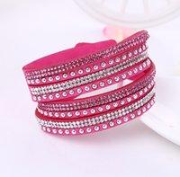 ingrosso braccialetti di cuoio fini per le donne-Pelle di Natale multistrato braccialetti dell'involucro Slake Deluxe fascino dei braccialetti con il regalo Fine Jewelry cristallo scintillante Donne Sandy Beach