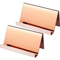 kartenhalterregale groihandel-Edelstahl Visitenkartenhalter Desktop Card Display Visitenkartenhalter Organizer Rose Gold Silber ZC0700