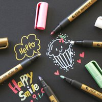 Wholesale photo album black card resale online - Metallic Color Pen Water Based Mark Black Card Paint Highlight Pen For Photo Album Graffiti Writing Suitable For Dark Paper